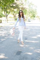 light pink kate spade bag - white Topshop jeans - periwinkle J Crew top