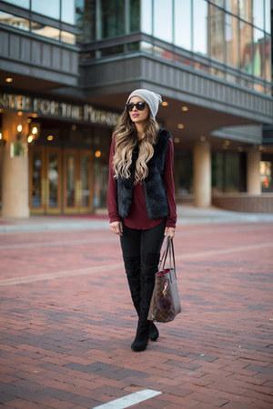 black Topshop jeans - black sam edelman boots - black Topshop vest