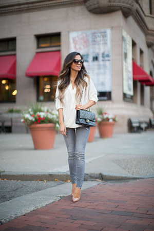 white Forever 21 top - heather gray Zara jeans - black Chanel bag