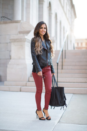 black Zara jacket - black Nordstrom bag - maroon Zara pants