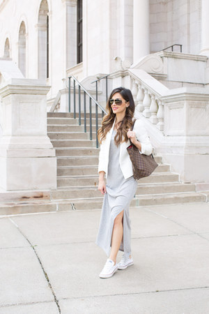 heather gray ann taylor dress - white Topshop blazer - brown Louis Vuitton bag