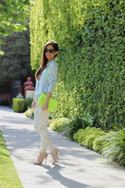 light blue Nordstrom shirt - lime green Rebecca Minkoff bag - cream Zara pants