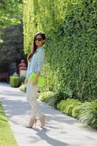 light blue Nordstrom shirt - lime green Rebecca Minkoff bag - cream Zara pants