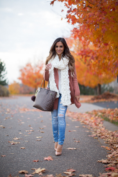 blue Zara jeans - burnt orange Loft sweater - dark brown Louis Vuitton bag