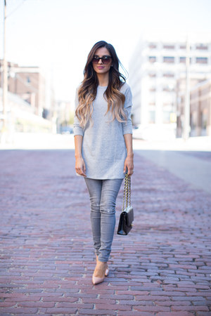silver Forever 21 top - heather gray Zara jeans - black Chanel bag