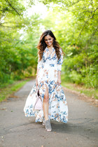 white free people dress - light pink kate spade bag - beige Steve Madden heels