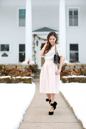 light pink H&M skirt - black Chanel bag - light pink H&M top