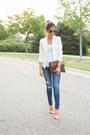Blue-shopbop-jeans-white-topshop-blazer-bubble-gum-kurt-geiger-heels
