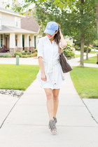 sky blue Urban Outfitters hat - white Nordstrom dress - brown Louis Vuitton bag