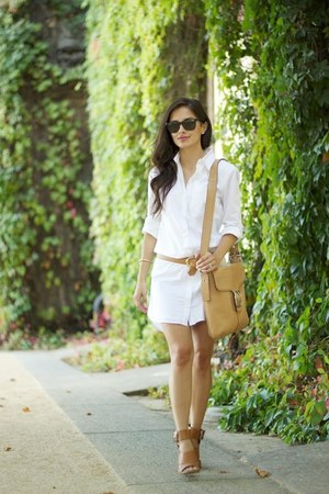 white Victorias Secret dress - camel coach bag - camel Forever 21 heels