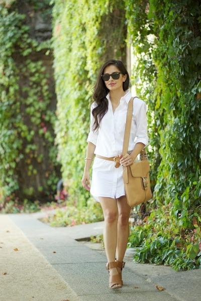 white Victorias Secret dress - camel coach bag - camel Forever 21 heels