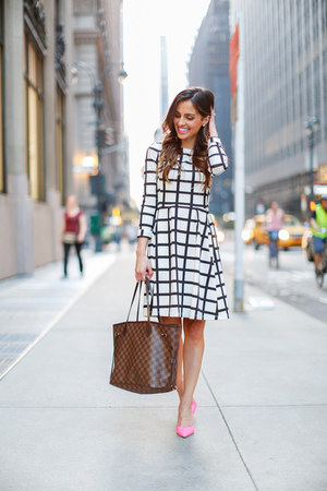 white Nordstrom dress - light brown Louis Vuitton bag