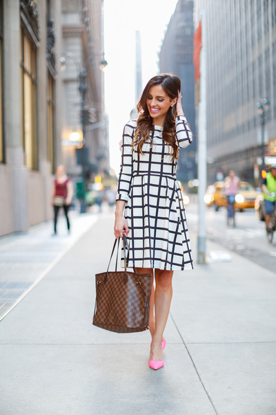 white Nordstrom dress - light brown Louis Vuitton bag