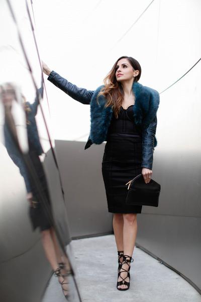 black Marciano dress - teal Black Swan coat - teal Anthropologie scarf