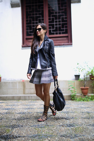 black Zara jacket - white Topshop top - black Forever 21 skirt