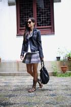 black Zara jacket - white Topshop top - black Forever 21 skirt