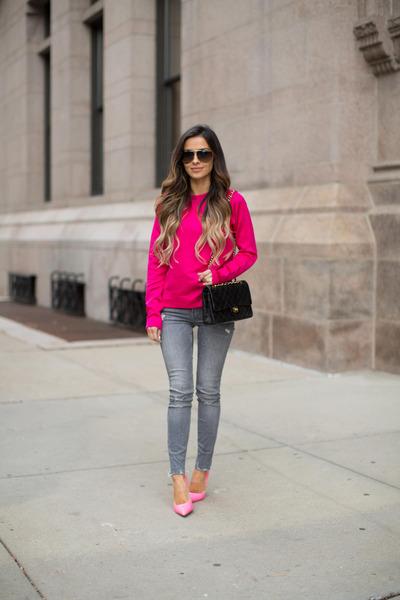 bubble gum Topshop top - heather gray Nordstrom jeans - black Chanel bag