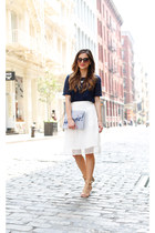 white Loft skirt - blue Loft bag - blue Loft top - neutral JCPenney heels