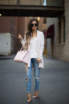 light pink Nordstrom sweater - blue Nordstrom jeans - light pink kate spade bag