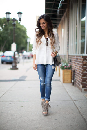 ivory Nordstrom Rack top - blue Nordstrom jeans - black Chanel bag