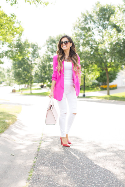 white Topshop jeans - hot pink Nordstrom blazer - light pink kate spade bag