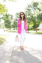 white Topshop jeans - hot pink Nordstrom blazer - light pink kate spade bag