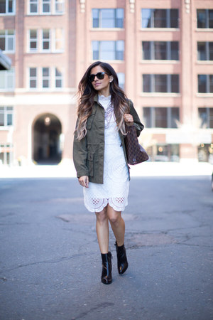 army green banana republic jacket - black Zara boots - white asos dress