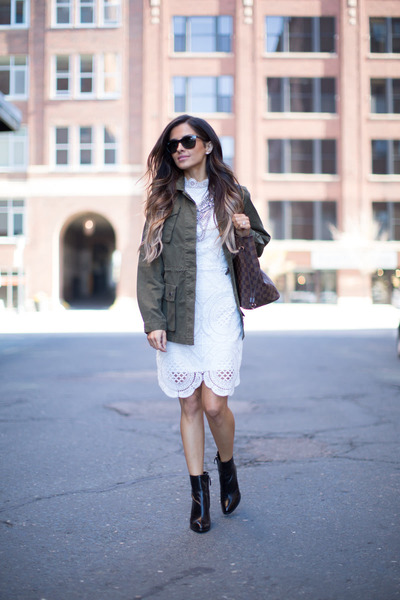 Black-zara-boots-white-asos-dress-army-green-banana-republic-jacket