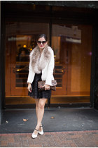 white Zara blazer - heather gray H&M scarf - black Nordstrom skirt