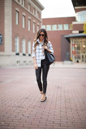 white Nordstrom top - black Nordstrom pants - black Zara heels