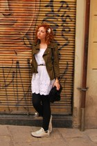 white dress - olive green jacket - black leggings - aquamarine sneakers