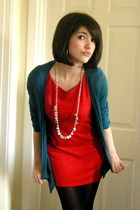 black tights - red Dorothy Perkins dress - green red herring cardigan - white ne