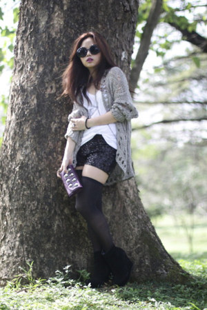 black Five By Five boots - heather gray Topshop sweater - black Forever 21 short