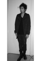 American Apparel t-shirt - Hugo Boss boots - coat - Nudie Jeans jeans