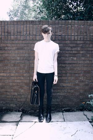 white vintage t-shirt - black Cheap Monday jeans - black H by Hudson boots - sil
