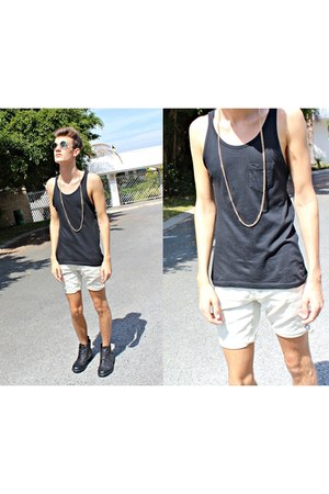 combat boots Soviet boots - white Jay Jays shorts - gold Home-made necklace