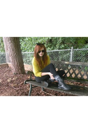 yellow knitted Divided sweater - black black American Apparel bodysuit