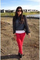 red Guess jeans - navy Exhileration top - white Forever 21 top