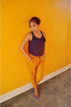 orange chic pants - deep purple cotton blouse