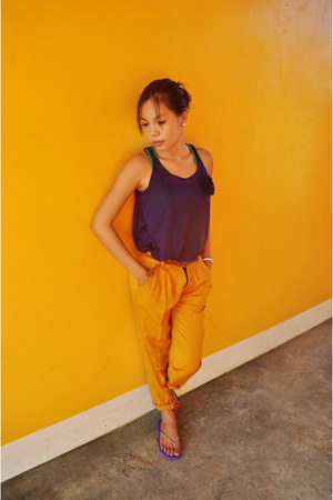 orange bright color pants - deep purple cotton blouse