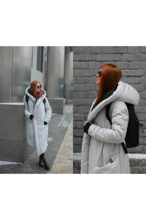 black Topshop dress - white aliens coat