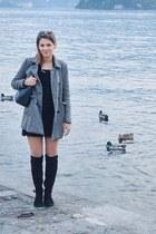 black pittarello boots - black H&M dress - silver Bershka coat - black H&M bag