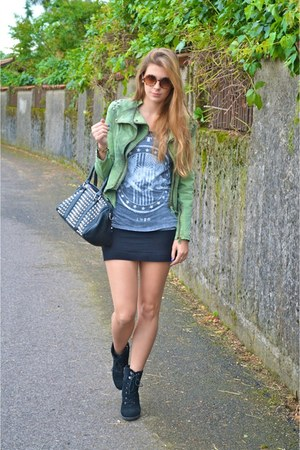 studded denim lookbookstore jacket - asos boots - studded pull&bear bag