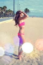 hot pink bandeau pull&bear swimwear