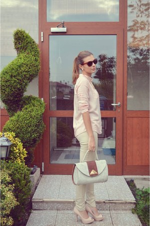 light pink chiffon chicnova shirt - off white vintage bag