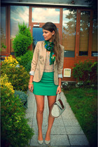 tan Stradivarius blazer - neutral Tally Weijl top - green H&M skirt