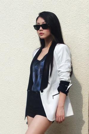 Zara blazer - Topshop shorts - Ray Ban sunglasses - Zara top