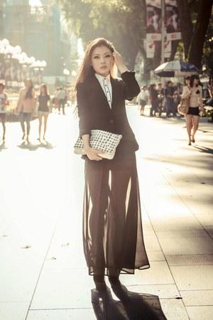 black g2000 blazer - white bib-front shirt g2000 shirt - white Topshop bag