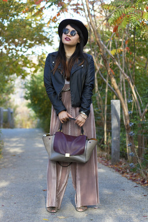 black Urban Outfitters jacket - maroon Etsy bag - tan American Apparel panties