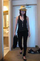 pop killer hat - American Apparel top - forever 21 jeans - tory burch shoes